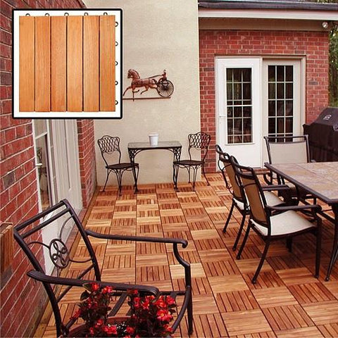 Vifah V169 Eucalyptus Hardwood - 6 Horizontal Slat Design - Interlocking Wood Deck Tile. - Peazz.com