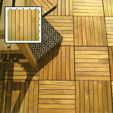 Vifah V355 Acacia Hardwood – 8 Horizontal Design - Interlocking Wood Deck Tile - Peazz.com