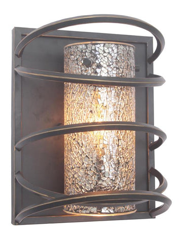 Woodbridge Lighting Loop 1-light Black Wall Sconce and Mirror Mosaic Glass - Peazz.com