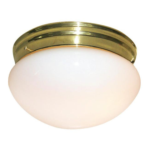 Woodbridge Lighting Basic 2-light Polished Brass Mushroom Glass Flush Mount - Peazz.com