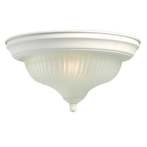 Woodbridge Lighting Basic 1-light White Swirl Glass Flush Mount - Peazz.com