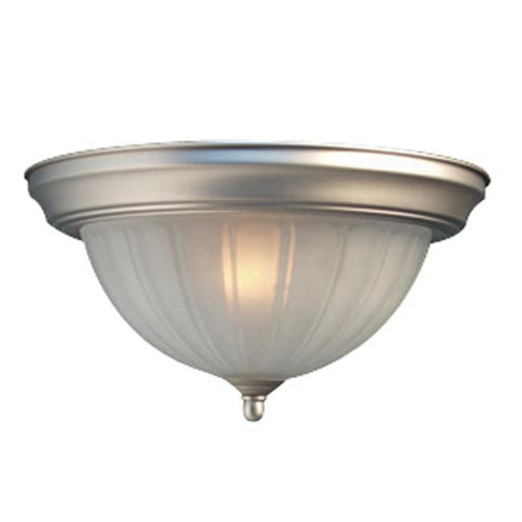 Woodbridge Lighting Basic 1-light Melon Glass Satin Nickel Flush Mount - Peazz.com