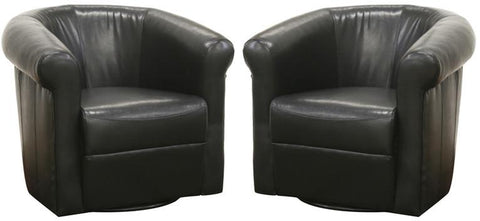 Wholesale Interiors A-282-Black Julian Black Brown Faux Leather Club Chair with 360 Degree Swivel - Set of 2 - Peazz.com