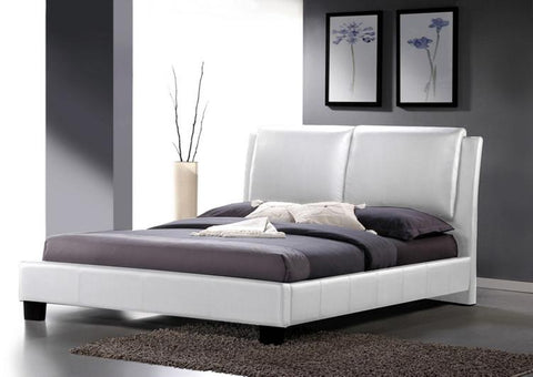 Wholesale Interiors BBT6082-White-Bed-Full Sabrina White Modern Bed with Overstuffed Headboard - Full Size - Each - Peazz.com