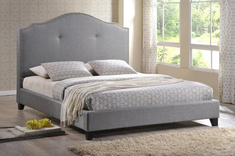 Wholesale Interiors BBT6292 Bed-Grey Linen-Full Marsha Scalloped Gray Linen Modern Bed with Upholstered Headboard - Full Size - Each - Peazz.com