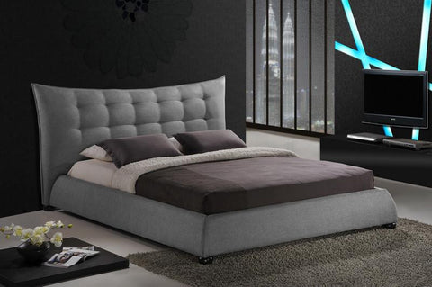 Wholesale Interiors BBT6323-Grey-King Marguerite Gray Linen Modern Platform Bed - King Size - Each - Peazz.com