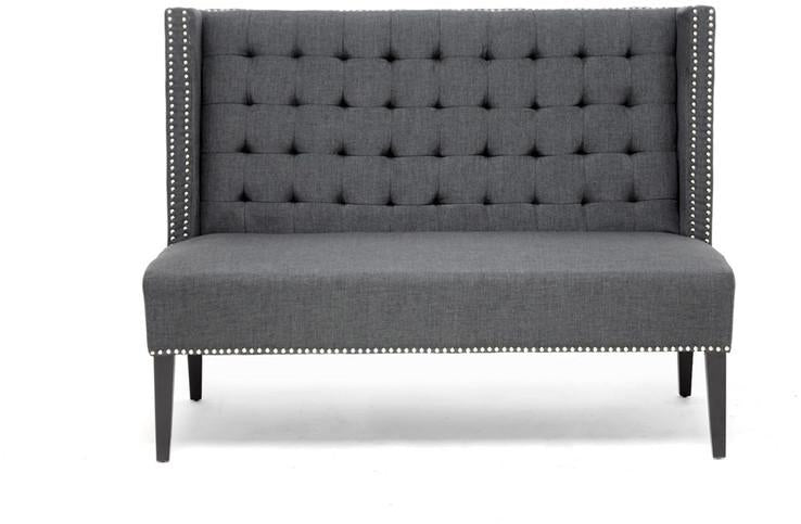 Gray Linen Modern Banquette Bench Each Owstynn 3561 Product Photo