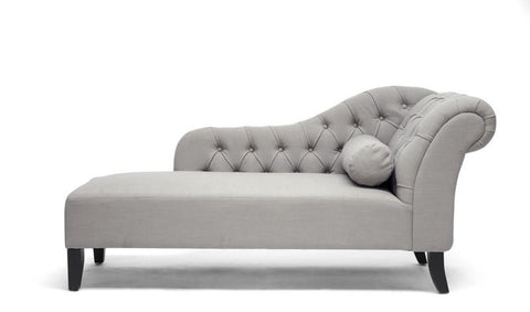 Wholesale Interiors BH-TY331-AC Aphrodite Tufted Putty Gray Linen Modern Chaise Lounge - Each - Peazz.com