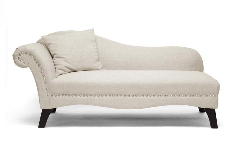 Wholesale Interiors Beige Linen Modern Chaise Lounge Each Phoebe
