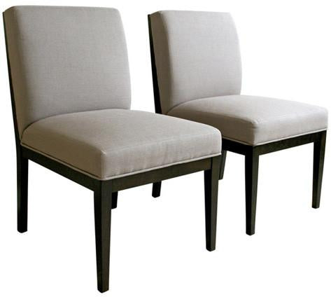 Wholesale Interiors Catalina-Chair-Wenge Catalina Taupe Twill Fabric Dining Chair with Dark Wood Legs - Set of 2 - Peazz.com
