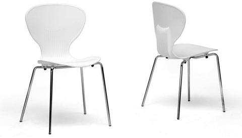 Wholesale Interiors DC-2-white Boujan White Plastic Modern Dining Chair - Set of 2 - Peazz.com