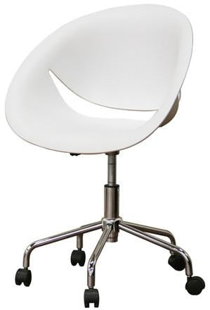 Wholesale Interiors DC-337D-white Justina White Molded Plastic Modern Swivel Office Chair - Set of 2 - Peazz.com