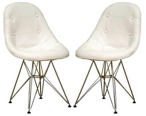 Wholesale Interiors DC-33A(V)-white Ami Modern White Faux Leather Side Chair - Set of 2 - Peazz.com