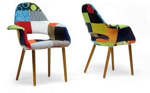 Wholesale Interiors DC-594V-Patch Forza Patchwork Mid-Century Style Accent Chair - Set of 2 - Peazz.com