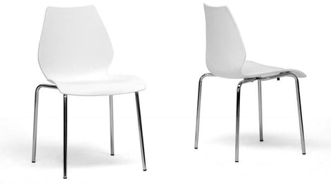 Wholesale Interiors DC-7A-white Overlea White Plastic Modern Dining Chair - Set of 2 - Peazz.com