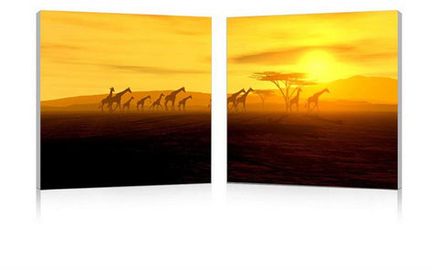 Wholesale Interiors FG-1070AB Glorious Giraffes Mounted Photography Print Diptych - Each - Peazz.com