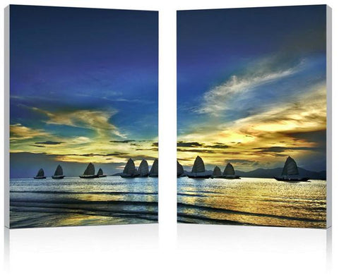 Wholesale Interiors FG-1074AB Sunset Sails Mounted Photography Print Diptych - Each - Peazz.com