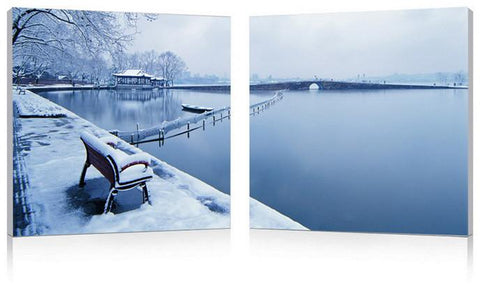 Wholesale Interiors FG-1080AB Wintry Wonder Mounted Photography Print Diptych - Each - Peazz.com
