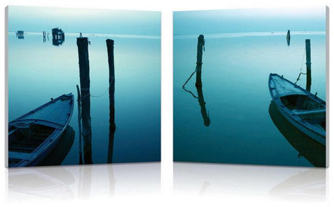 Wholesale Interiors FL-1004AB Idle Shore Mounted Photography Print Diptych - Each - Peazz.com