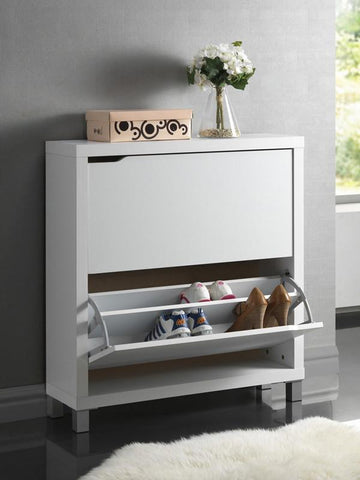 Wholesale Interiors FP-2OUS-White Simms White Modern Shoe Cabinet - Each - Peazz.com