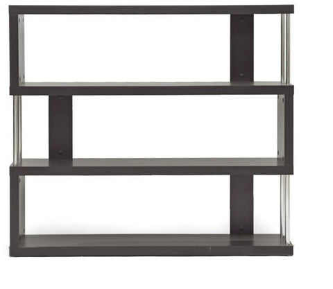 Wholesale Interiors FP-3D Barnes Dark Brown Three-Shelf Modern Bookcase - Each - Peazz.com