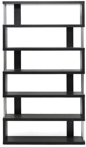 Wholesale Interiors FP-6D Barnes Dark Brown Six-Shelf Modern Bookcase - Each - Peazz.com