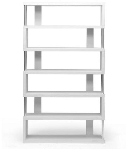 Wholesale Interiors FP-6D-White Barnes White Six-Shelf Modern Bookcase - Each - Peazz.com