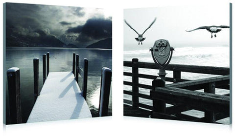 Wholesale Interiors HH-4013AB Lake Lookout Mounted Photography Print Diptych - Each - Peazz.com