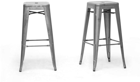Wholesale Interiors M-94115-30-Gun Metal-PSTL French Industrial Modern Bar Stool in Gunmetal - Set of 2 - Peazz.com