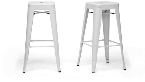 Wholesale Interiors M-94115-30-White-PSTL French Industrial Modern Bar Stool in White - Set of 2 - Peazz.com