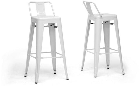 Wholesale Interiors M-94115X-30-White-PSTL French Industrial Modern Bar Stool in White with Back Support - Set of 2 - Peazz.com