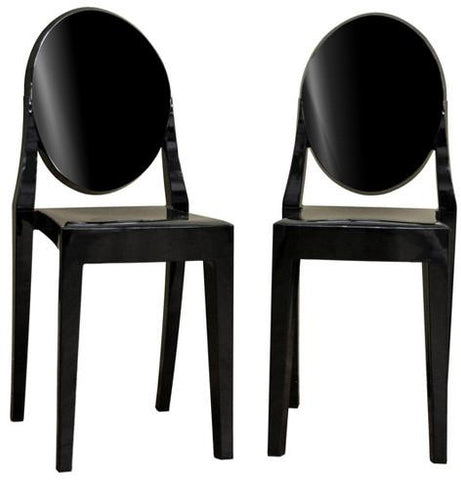 Wholesale Interiors PC-448-black Dreama Modern Black Acrylic Ghost Chair - Set of 2 - Peazz.com