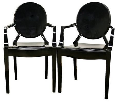 Wholesale Interiors PC-449-black Dymas Modern Acrylic Black Armed Ghost Chair - Set of 2 - Peazz.com