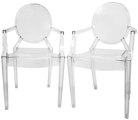 Wholesale Interiors PC-449-clear Dymas Modern Acrylic Armed Ghost Chair - Set of 2 - Peazz.com