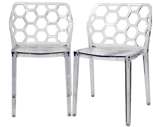 Wholesale Interiors PC-454-Clear Honeycomb Clear Acrylic Modern Dining Chair - Set of 2