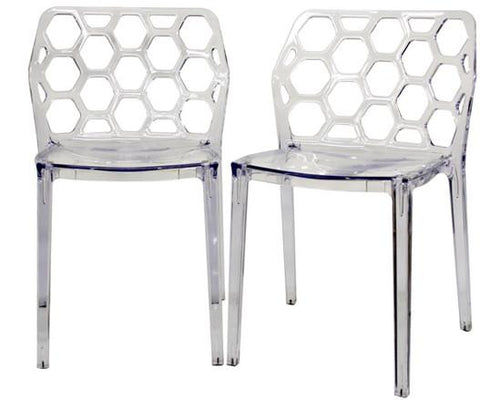 Wholesale Interiors PC-454-Clear Honeycomb Clear Acrylic Modern Dining Chair - Set of 2 - Peazz.com