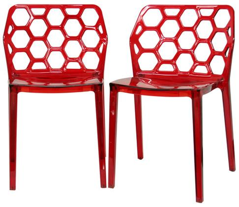 Wholesale Interiors PC-454-Red Honeycomb Red Acrylic Modern Dining Chair - Set of 2