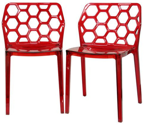 Wholesale Interiors PC-454-Red Honeycomb Red Acrylic Modern Dining Chair - Set of 2 - Peazz.com