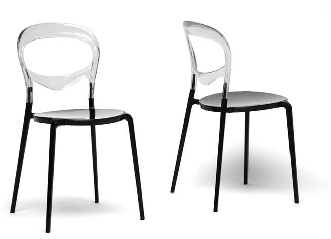 Wholesale Interiors PC-603-Clear Orlie Black and Clear Colorblock Modern Dining Chair - Set of 2