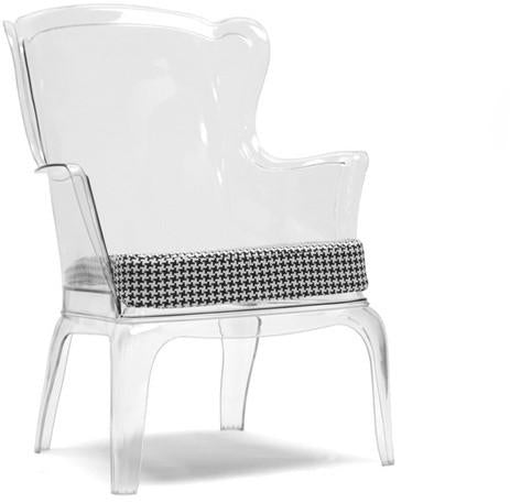 Wholesale Interiors PC-689A-Clear/Dark grey Tasha Clear Polycarbonate Modern Accent Chair - Each - Peazz.com