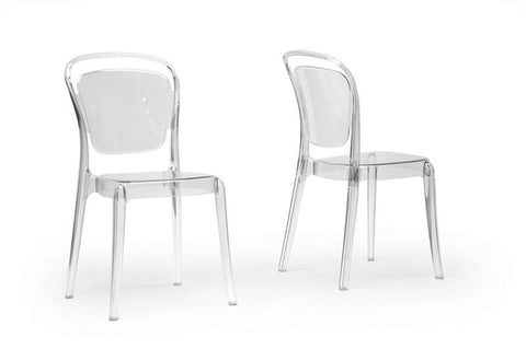 Wholesale Interiors PC-790-Clear Ingram Clear Plastic Stackable Modern Dining Chair - Set of 2 - Peazz.com