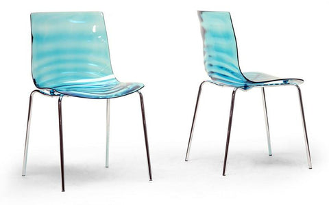 Wholesale Interiors PC-840-Blue Marisse Blue Plastic Modern Dining Chair - Set of 2 - Peazz.com
