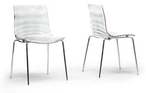 Wholesale Interiors PC-840-Clear Marisse Clear Plastic Modern Dining Chair - Set of 2 - Peazz.com