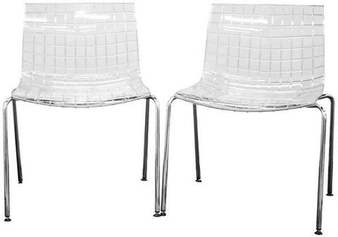 Wholesale Interiors PC-91-Clear Obbligato Transparent Clear Acrylic Accent Chair - Set of 2 - Peazz.com