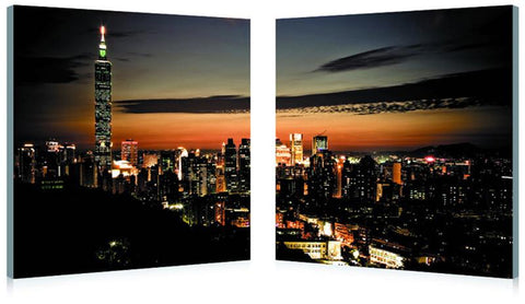 Wholesale Interiors PM-2015AB Taipei Skyline Mounted Photography Print Diptych - Each - Peazz.com