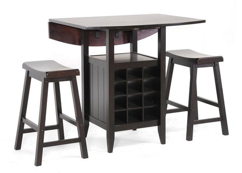 Wholesale Interiors RT227-Pub Stool Set Reynolds Black Wood 3-Piece Modern Drop-Leaf Pub Set with Wine Rack - Each - Peazz.com