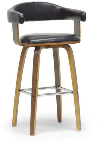 Wholesale Interiors SD-2222-9 Walnut/Black Quigley Walnut and Black Modern Counter Stool - Each - Peazz.com
