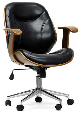 Wholesale Interiors SD-2235-5 Walnut/Black Rathburn Walnut and Black Modern Office Chair - Each - Peazz.com