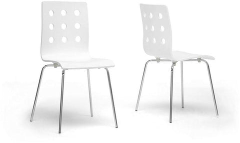 Wholesale Interiors SDD2252-White-DC Celeste White Modern Dining Chair - Set of 2 - Peazz.com