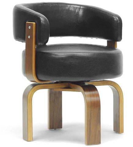 Wholesale Interiors SDL-2008-4 walnut/black Fortson Walnut and Black Modern Accent Chair - Each - Peazz.com